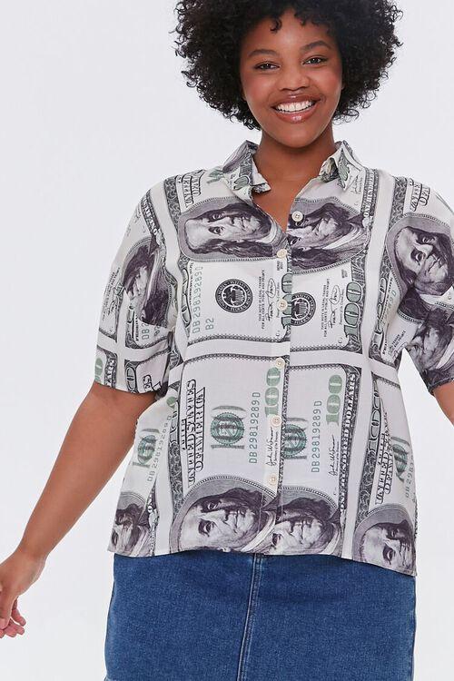 CREAM/BLACK Plus Size Hundred Dollar Bill Shirt, image 4