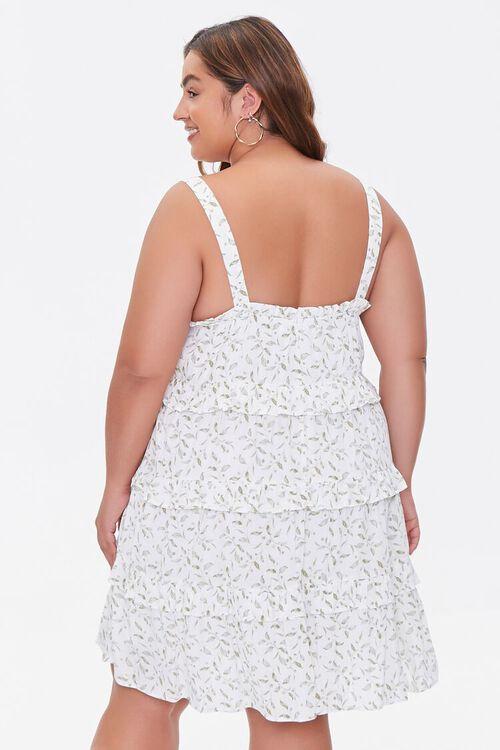 Plus Size Leaf Print Tiered Mini Dress, image 3