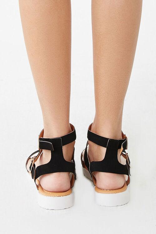 BLACK Strappy Faux Suede Sandals, image 4
