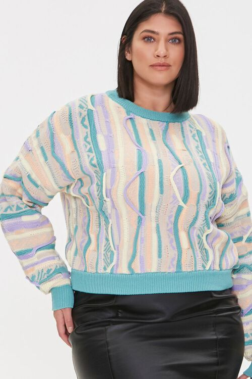 Plus Size Multicolored Cable Knit Sweater, image 1