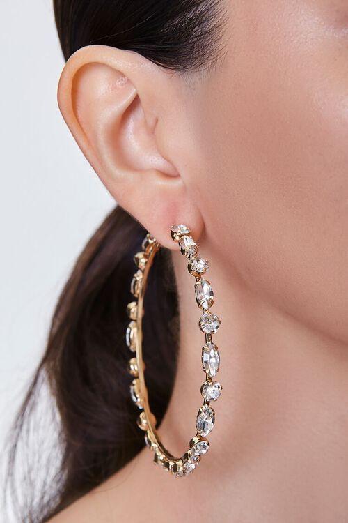 GOLD/CLEAR Faux Gem Hoop Earrings, image 1