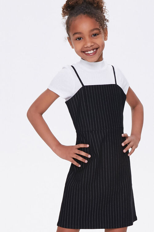 Girls Pinstriped Cami Dress (Kids), image 1