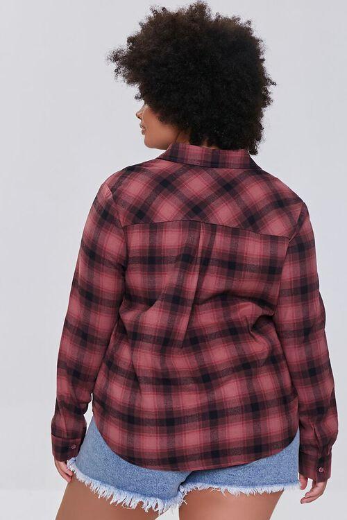 BERRY/BLACK Plus Size Dual-Pocket Flannel Plaid Shirt, image 3
