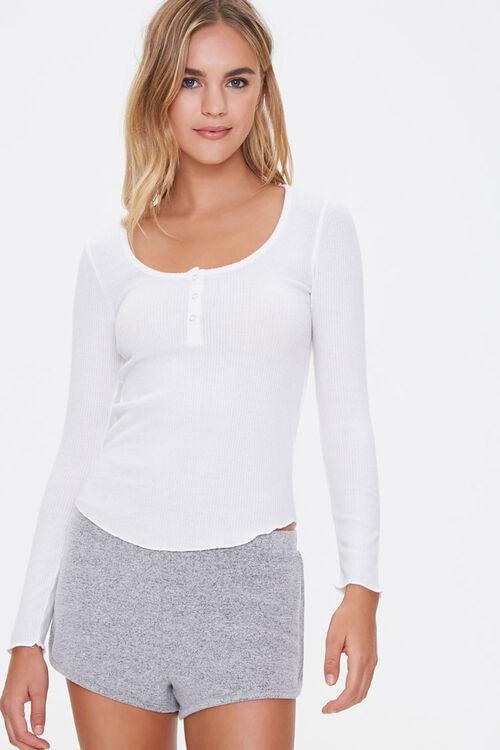 Ribbed Knit Henley Pajama Top, image 1