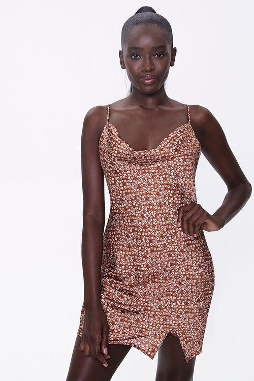 Floral Cowl-Neck Dress, image 1