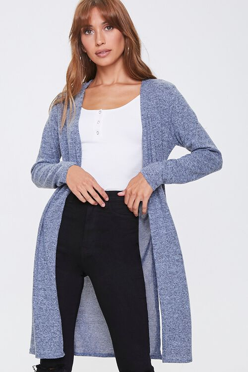 Heathered Open-Front Cardigan, image 1