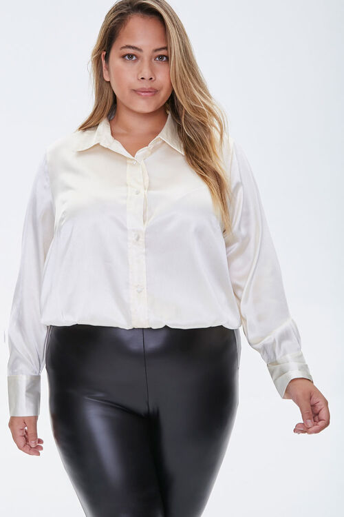 Plus Size Satin Shirt, image 1
