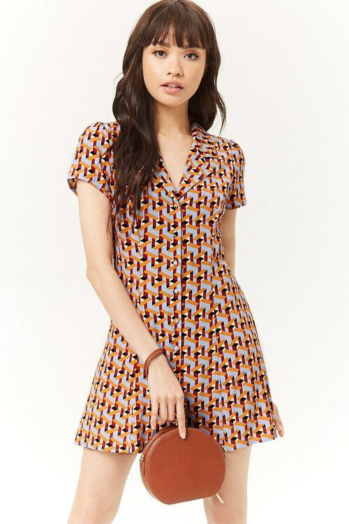 Multicolor Geo Print Mini Dress, image 1