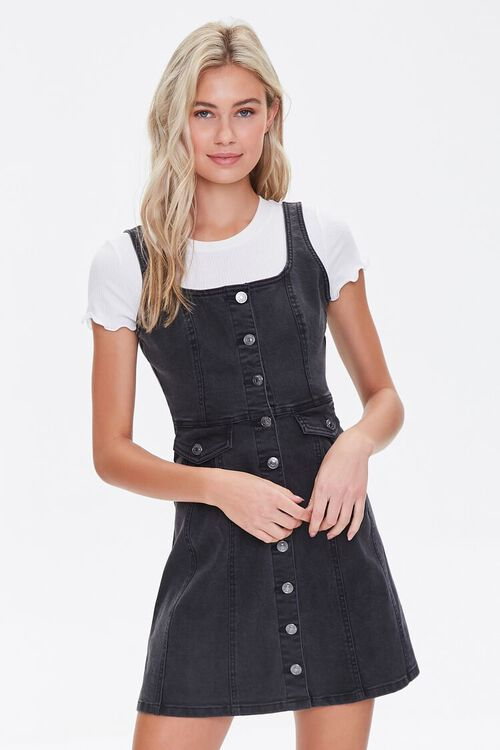 Denim Pinafore Mini Dress, image 1