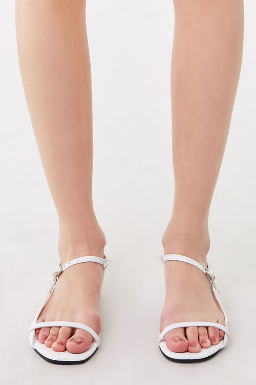 WHITE Strappy Flat Sandals, image 2