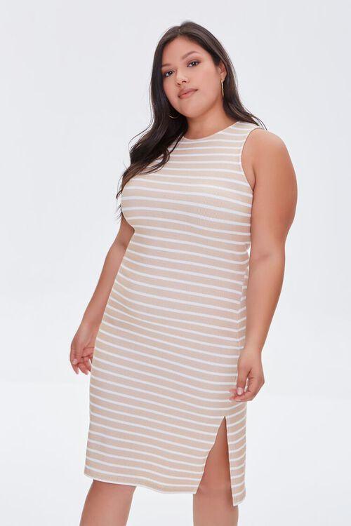 TAUPE/CREAM Plus Size Striped Tank Dress, image 5