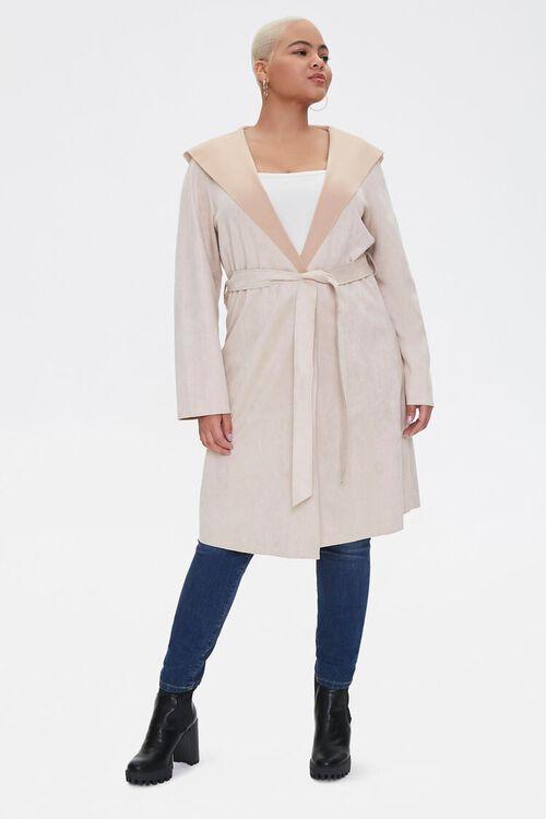 Plus Size Faux Suede Duster Jacket, image 4