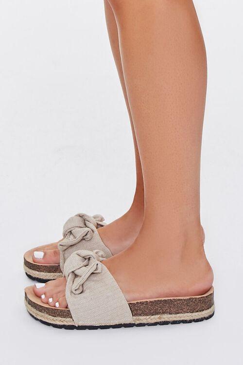 BEIGE Linen Bow Cork Flatform Sandals, image 2