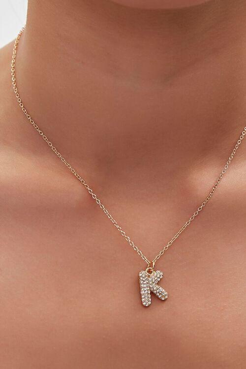 GOLD/K Rhinestone Initial Necklace, image 1