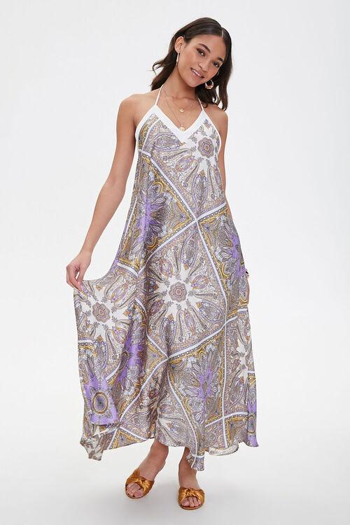 Satin Ornate Print Trapeze Dress, image 1