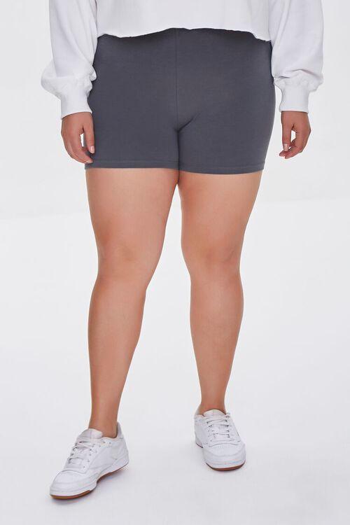 DARK GREY Plus Size Basic Organically Grown Cotton Hot Shorts, image 2