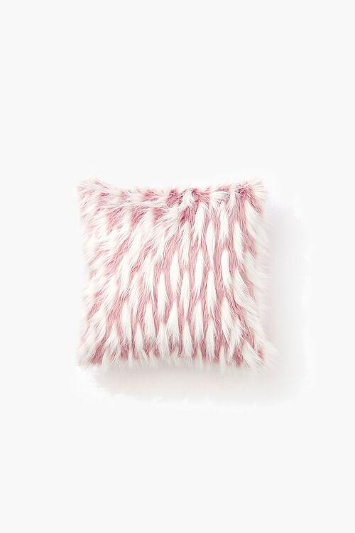 BLUSH/WHITE Faux Fur Throw Pillow, image 2