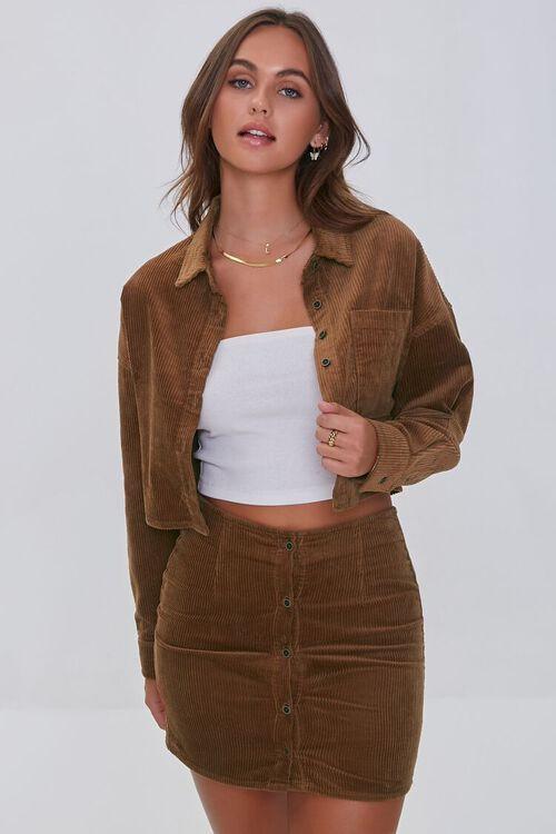 BROWN Corduroy Shirt & Mini Skirt Set, image 1