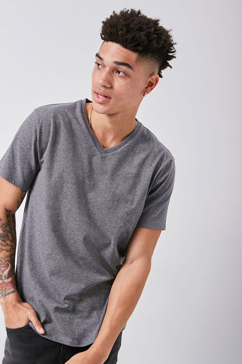 Basic Heathered V-Neck Tee, image 1