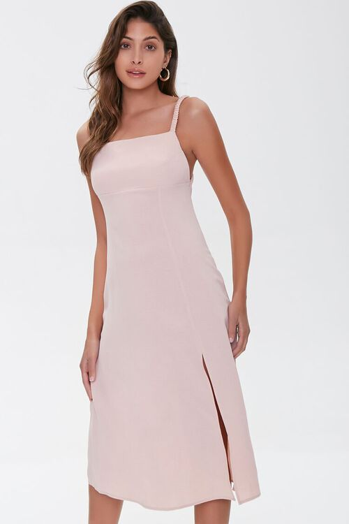 Side-Slit Cutout Cami Midi Dress, image 1