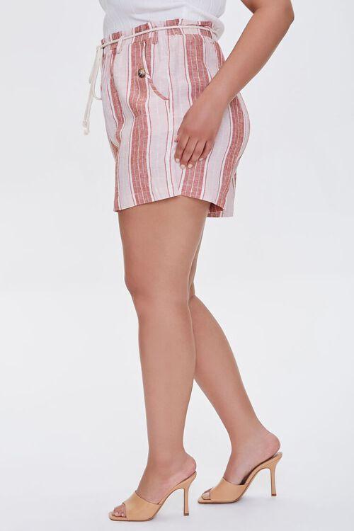 Plus Size Striped Linen-Blend Shorts, image 3