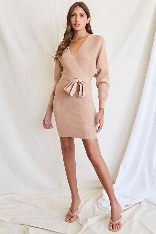 TAUPE Sweater-Knit Wrap Dress, image 4