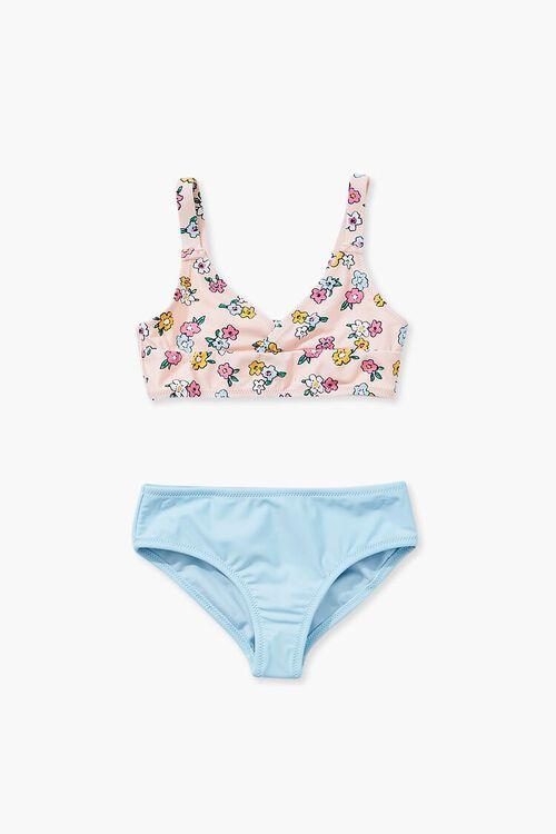 Girls Floral Print & Contrast Bikini (Kids), image 1