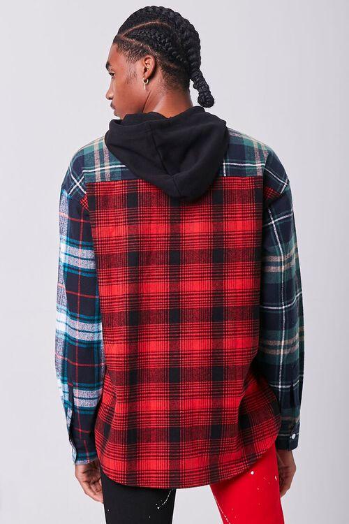 Colorblock Plaid Hooded Shirt, image 3