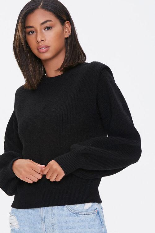 Ribbed Shoulder-Pad Sweater, image 1