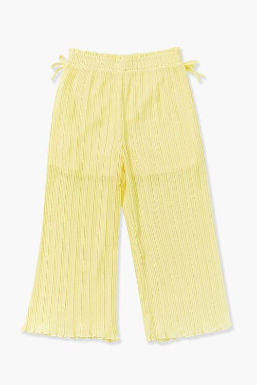 YELLOW Girls Crinkled Wide-Leg Pants (Kids), image 1
