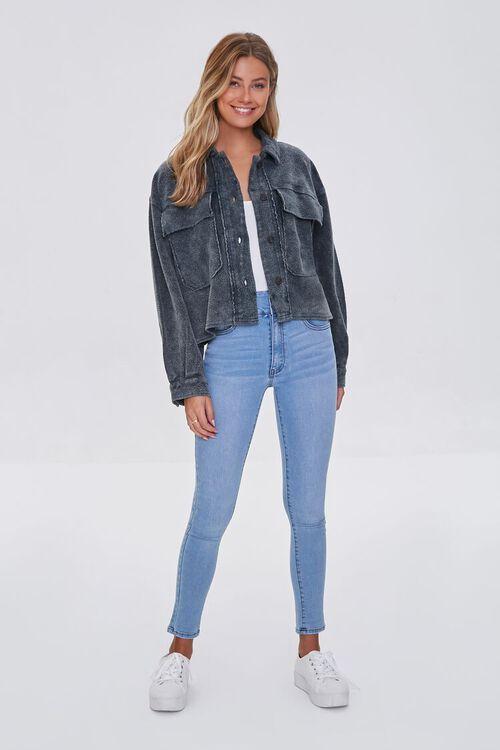 CHARCOAL Reverse Fleece Drop-Sleeve Jacket, image 4