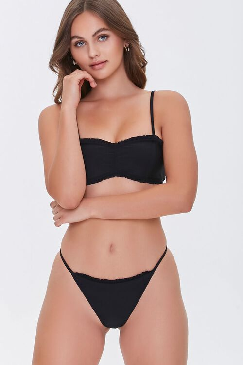 Ruffled String Bikini Bottoms, image 1