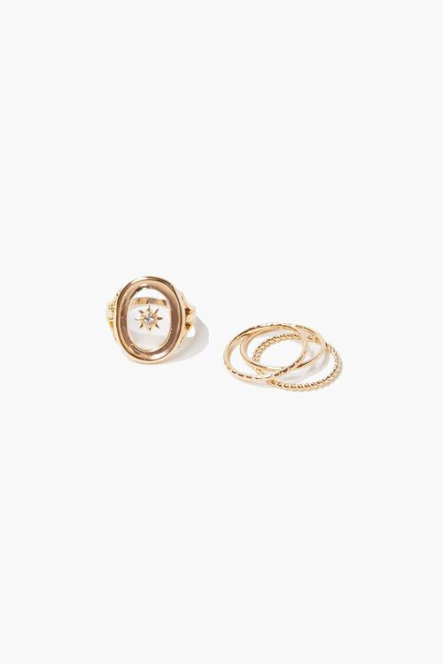 GOLD/CLEAR Sun Charm Cocktail Ring Set, image 1