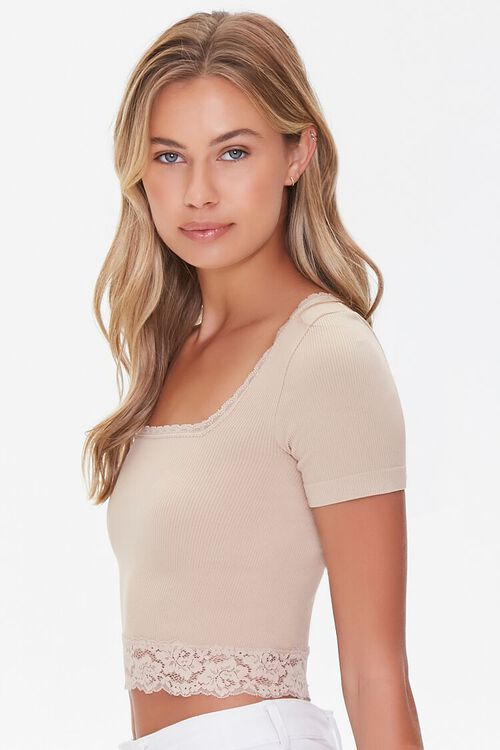 Lace-Trim Cropped Tee, image 2