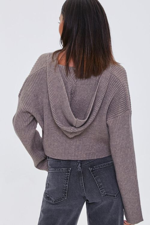 Cropped Ribbed Hooded Sweater, image 3