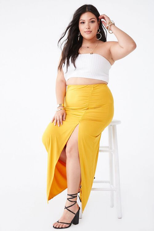Plus Size Ruched Maxi Skirt, image 5