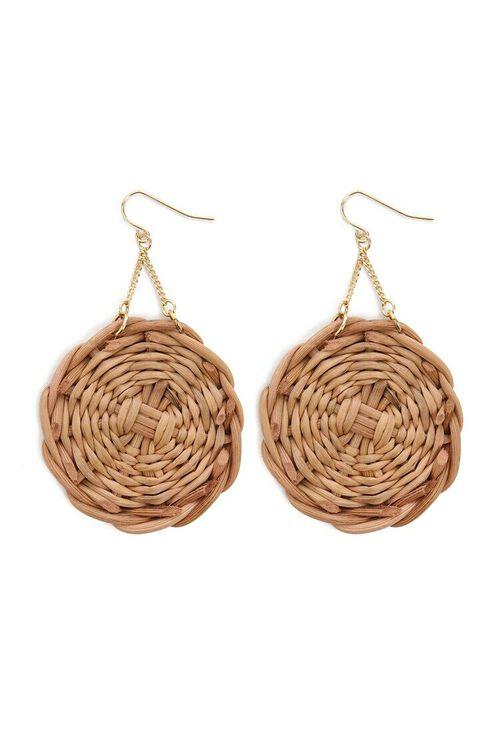 Wicker Pendant Drop Earrings, image 2