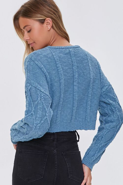 BLUE Cotton-Blend Lattice Sweater, image 3