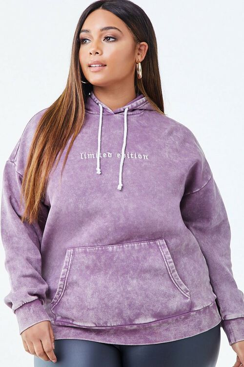 PURPLE/WHITE Plus Size Limited Edition Graphic Hoodie, image 1