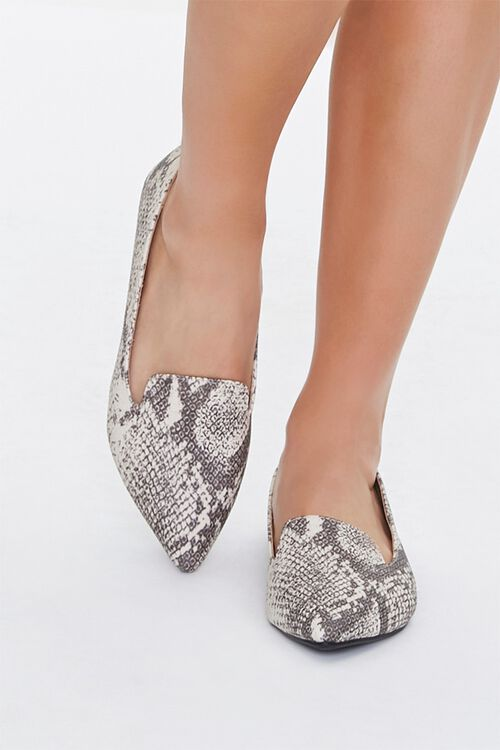 TAUPE/MULTI Pointed Snake Print Loafers, image 4
