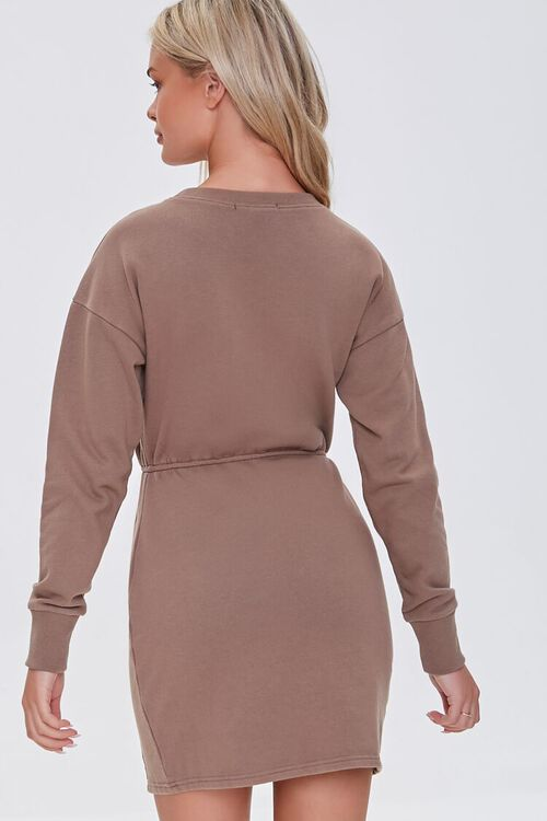 BROWN French Terry Cutout Mini Dress, image 3