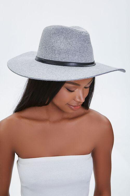 GREY Brushed Wide-Brim Panama Hat, image 1