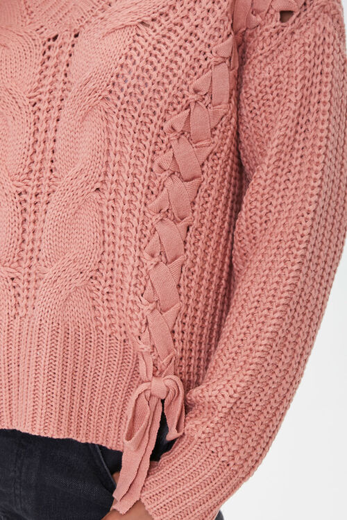 Lace-Up Cable Knit Sweater, image 5
