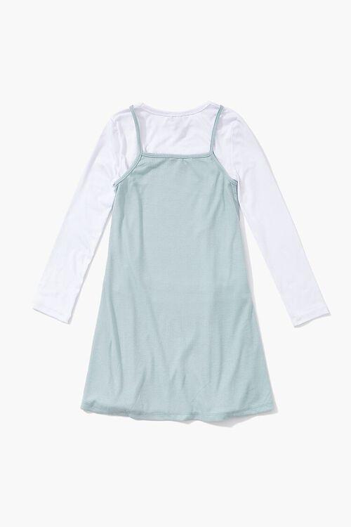MINT/WHITE Girls A-Line Combo Dress (Kids), image 2