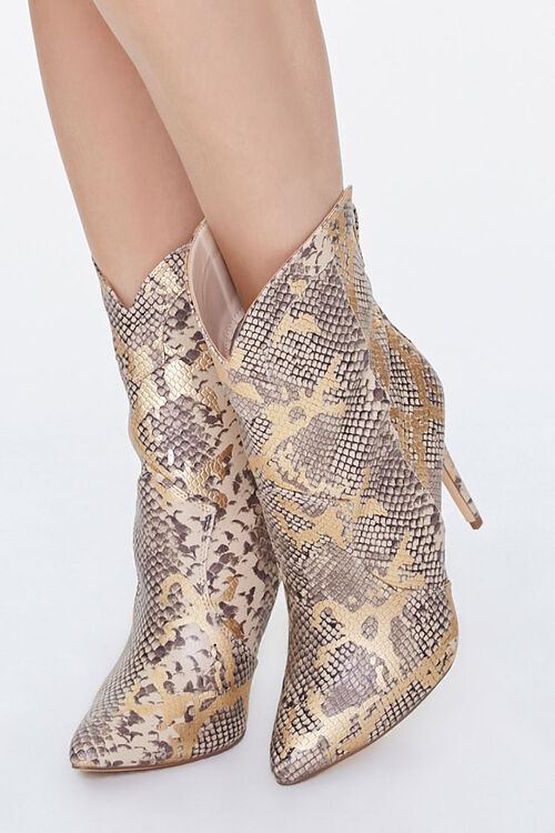 Metallic Faux Snakeskin Booties, image 1