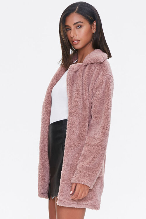Faux Shearling Open Front Coat, image 2