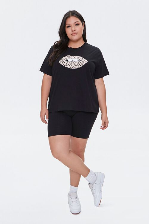 Plus Size Leopard Lips Graphic Tee, image 4