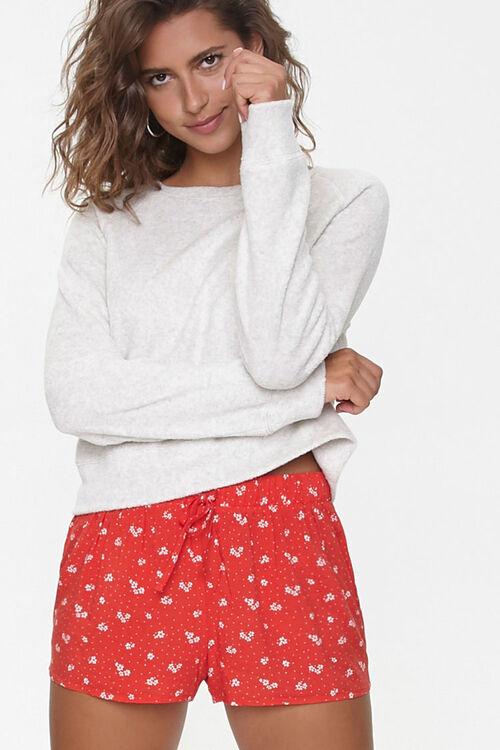 RED/WHITE Polka Dot Drawstring Lounge Shorts, image 1
