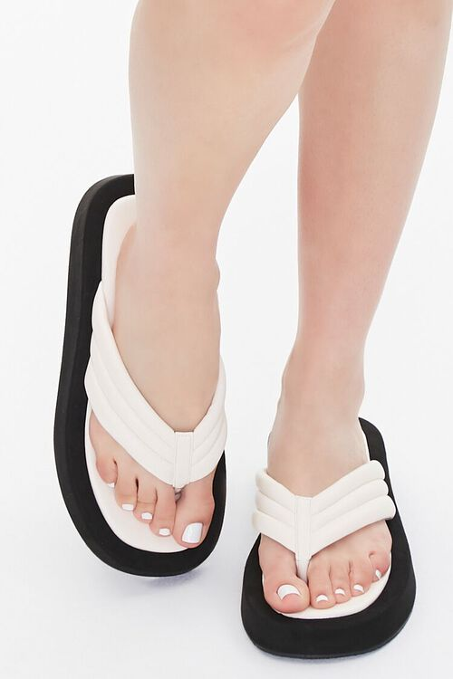 Quilted Thong-Toe Flatform Sandals, image 4