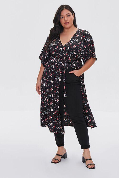 Plus Size Floral Print Buttoned Kimono, image 4
